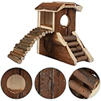 Rejoicing - Caseta de madera natural con diseño de animales de casa con chimenea para hámster y mascotas