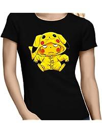T-Shirt Jeux Vidéo - Parodie de Pikachu de Pokémon - Une drôle de tronche :) - T-shirt Femme Noir - Haute Qualité (892)
