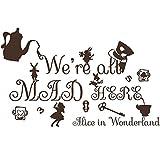 Zitat-Wandaufkleber Design Alice im Wunderland Aufkleber Vinyl-Aufkleber Kinderzimmer Schlafzimmer Deko im Innenbereich MN900