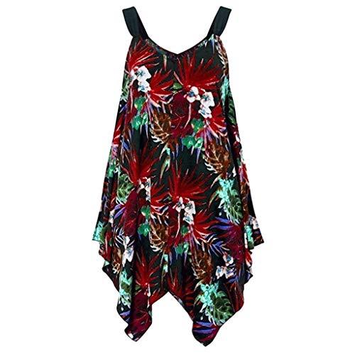AIni Damen Sommerkleid Mode Beiläufiges Strandkleid Kleid unregelmäßig ärmelloses Weste Tank Top Lose Elegant Grosse Grössen (S-5XL)