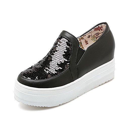 VogueZone009 Femme Tire Rond à Talon Correct Pu Cuir Mosaïque Chaussures Légeres Noir