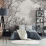 Fototapete Baumkronen im Himmel Vlies Tapete Natur Bäume Äste Herbst Fotografie schwarz-weiß Wall-Art - 384x260 cm