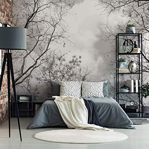 Fototapete Baumkronen im Himmel Vlies Tapete Natur Bäume Äste Herbst Fotografie schwarz-weiß Wall-Art - 240x260 cm