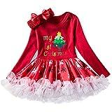 NNJXD Infant Girls Weihnachten Karneval Kostüm Neugeborenes Baby Geburtstag Party Anzieh Kleinkind Mädchen Overall Rock + Stirnband 7-12 Monate #2 Rot