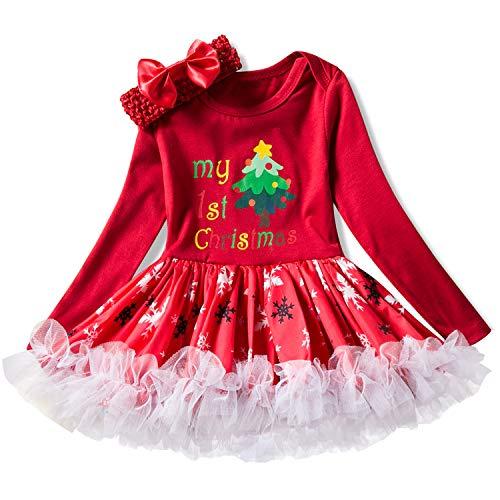 Vestito natale bimba costume tutu romper albero di natale della neonata 2pcs +bow fascia/0-6months