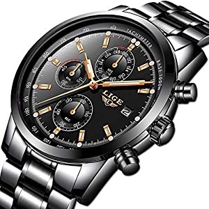 Watches for Men,LIGE Luxury Brand Multifunction Chronograph Sports Analogue Quartz Watch Gents Stainless Steel Waterproof Date Business Casual Wrist Watch Black Rose Gold Dial