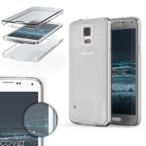 Urcover custodia compatibile con samsung galaxy s5, protezione 360 grad completa, fronte retro cover silicone trasparente, full body case ultra sottile - trasparente