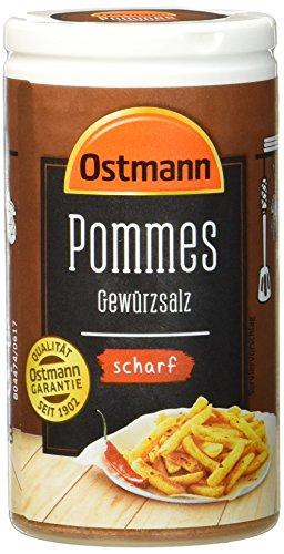 Ostmann Pommes Gewürzsalz scharf 70 g Pommesgewürz Bratkartoffelgewürz, scharfes Pommessalz, für sagenhaft leckere Pommes Frites, Menge: 4 Stück