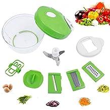 6 en 1 Mandolina Cortador de Verduras, Yidaxing Picadora de Alimentos Manual para Picar vegetales, frutas, reunirse, queso, ensalada o cebolla con 500ml Recipiente e 3 Rebanadoras Cuchillas