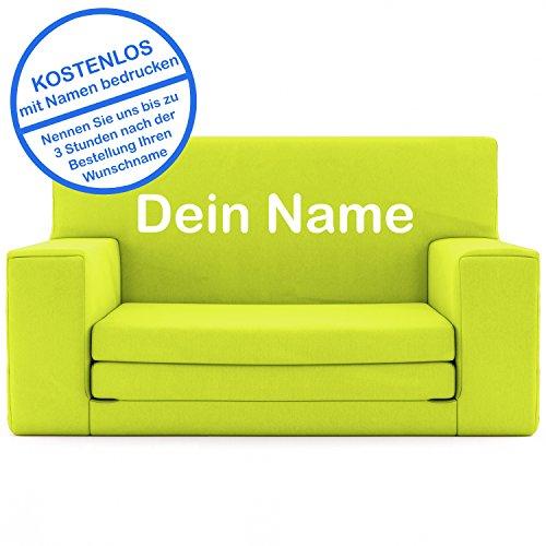 2 in 1 Kindersofa in Neongelb mit Waschbarem Überzug - Als Geschenk Individuell Bedrucken - Schaumstoff aus Deutschland Spielzeug Couch und Bett Schlaf Matratze zum Auffalten für Kinder von 1-4