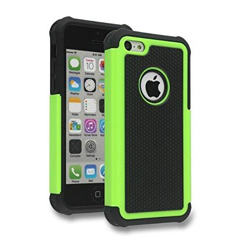 iPhone 5C Case,Lantier Hybrid Dual Layer antichoc Armure Defender Housse de protection (en plastique dur avec Soft Silicon intérieure) pour Apple iPhone 5C Noir Green