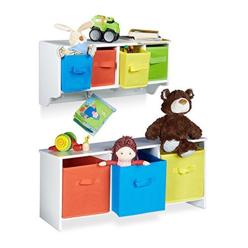 2 tlg. Kindermöbel Set ALBUS, Wandregal für Kinder, Sitzbank mit Stauraum, Wandgarderobe 4 Kleiderhaken, Faltbox, weiß (Falt-wand-sitz)