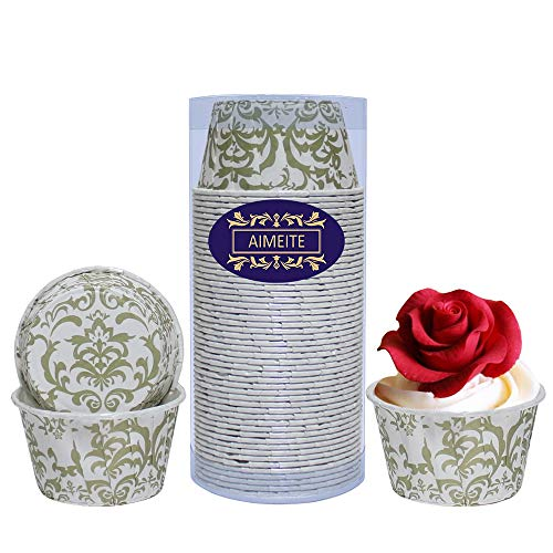 chen Papier Cupcake Wrappers,Cupcake Formen Papierform Cupcake Backförmchen Papier Mini Muffin Papierförmchen 50 St (Gold) ()