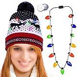 Howaf LED Hüte LED mütze leuchtende Weihnachten Strickmütze mit bommel, Beanie Wintermütze für Damen Geschenk und LED leichte Halskette