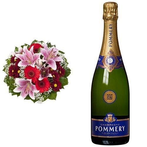 Blumenstrauß Charlotte mit rosa Lilien + Pommery Brut Royal Champagner (1 x 0.75 l)