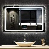 Espejo de baño Cuadrado LED Iluminado con luz/Pared/ / con Interruptor de Sensor táctil + Llamada de música Bluetooth + Pantalla de Temperatura de Tiempo + antivaho