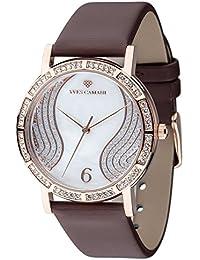 Yves Camani MADEMOISELLE elegante Damenuhr mit Perlmuttzifferblatt und mit 60 Zirkonia-Steinen besetztes Gehäuse und echtem Lederarmband.