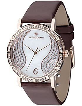 Yves Camani MADEMOISELLE elegante Damenuhr mit Perlmuttzifferblatt und mit 60 Zirkonia-Steinen besetztes Gehäuse...