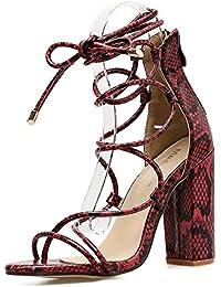 De Las Mujeres Open Toe Strappy Block Ladies High Heels Correa De Tobillo Tie Sandalias Zapatos Tamaño