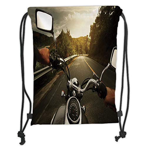 OQUYCZ Drawstring Sack Backpacks Bags,Adventure,Rider Driving a Chopper on Asphalt Road Within Forest Journey Photography Decorative,Forest Green Grey Soft Satin,5 Liter Capacity,Adjustable St -