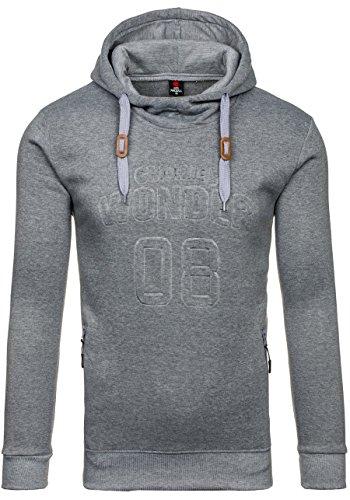 BOLF Herren Sweatshirt Pullover mit Kapuze mit Kordel Top AK72 Grau_8151