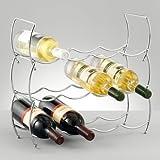 from Zeller Present Handels GmbH Zeller 27356 Wine Rack Set of 3 / 42 x 14 x 14 cm Chrome Model 27356