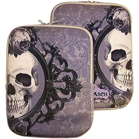 Vittoriano iPad copertura della cassa della tavoletta della cassa della pelle con Skull disegno del cranio - Vittoriano Disegno