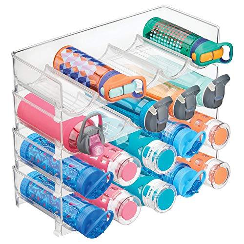 mDesign 4er-Set Flaschenregal stapelbar - praktisches Weinregal Kunststoff für bis zu 5 Flaschen - handliches Regal für Weinflaschen oder andere Getränke - durchsichtig