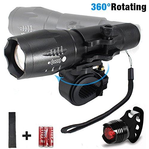 LIVH-Plat-de-luces-LED-por-bici-linterna-por-cabeza-y-luz-trasera-CREE-3-modalidades-de-luz-1000lm-bateras-inclusas-waterproof-clase-energtico-A