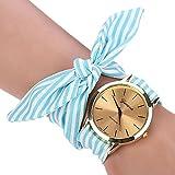HUIHUI Uhren Damen, Geflochten Armbanduhren Günstige Uhren Wasserdicht Casual Streifen Blumentuch Quarz Vorwahlknopf Armband Armbanduhr Mädchen Frau Uhr