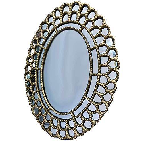 Espejo ovalado dorado