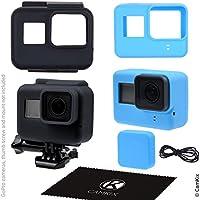 CamKix Silikonhüllen kompatibel mit Gopro Hero 7 / 6 / 5 Black - 2 Schutzhüllen - Schwarz (Rahmen) / Blau (Kamera) - Schutz für Ihre GoPro Hero 7 / 6 / 5 Black Kamera und den Rahmen