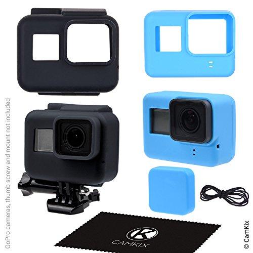 CamKix® Silikonhüllen kompatibel mit Gopro Hero 7/6 / 5 Black - 2 Schutzhüllen - Schwarz (Rahmen) / Blau (Kamera) - Schutz für Ihre GoPro Hero 7/6 / 5 Black Kamera und den Rahmen
