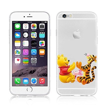 Disney Winnie The Pooh & Friends Transparent TPU Soft Case For Apple iPhone 7 EEYORE WINNIE PIG & TIGGER