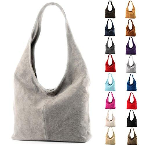 Borsa a mano borsa a tracolla shopping bag donna in vera pelle italiana T02 Hellblau