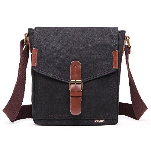 Outreo Vintage Taschen Schultertasche Kleine Umhängetasche Herren Kuriertasche Herrentaschen Canvas Messenger Bag für Reisen Schule Sport Tablet Reisetasche Schwarz