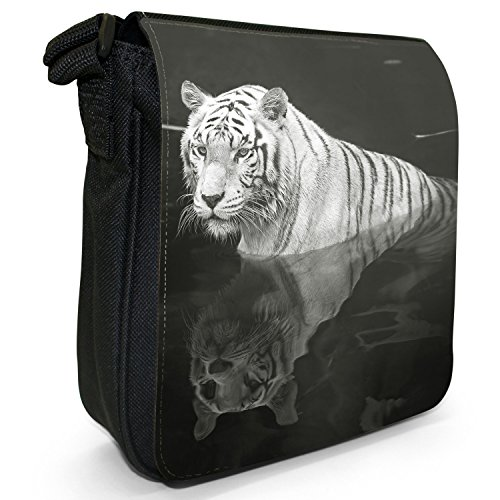 Bianco Tigri piccolo nero Tela Borsa a tracolla, taglia S White Tiger With Reflection