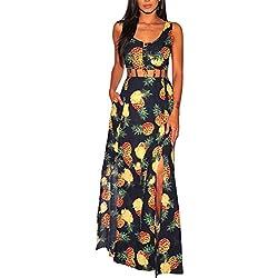 FVDVRGEA Vestido sin Mangas con Estampado de piña y botón sin Mangas con Abertura en el Cuello Boho Vestido Largo sin Cierre (Color : Azul, tamaño : L)
