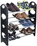 #4: Sunshine Stackable 12 Pairs Shoe Rack Organizer,4 Layer Shoe Rack Black