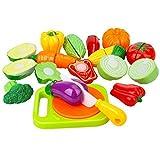 Peradix Verdura Giocattolo da Tagliere - Gioco di Ruolo per Bambini - Accessori da Cucina - Giocattolo Educativo Prima Infanzia - Regalo Perfetto per Bambini 3+ Anni (14 Pezzi)