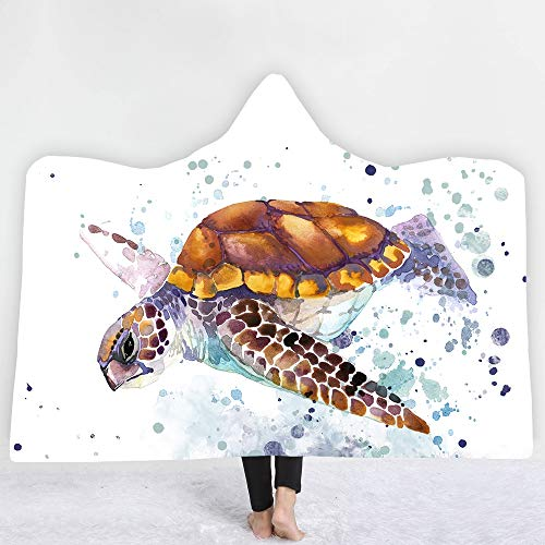 Kinder Plüsch Kostüm Schildkröte - ACC Schildkröte Kapuzendecke, warme weiche Plüsch Mantel Cape bequem tragbare werfen Plüsch Kapuzendecke Kind Erwachsene,130x150cm