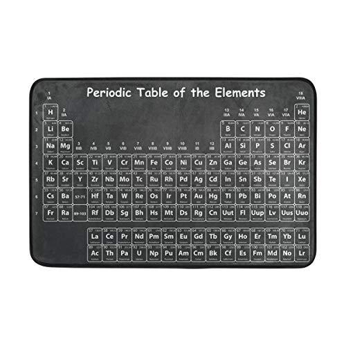 Ahomy Fußmatte, Periodensystem der Elemente, auf schwarzer Kreidetafel, sehr saugfähig, rutschfest, für Innen- und Außenbereich, 40 x 60 cm