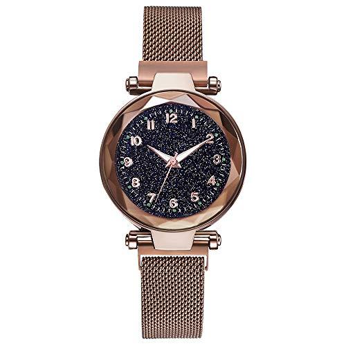 DEAR-JY Watch Damen, Damen Sternenhimmel Uhr, mit Magnetband und Armband, lässig wasserdicht Quarz einzigartige Uhr,Metallic