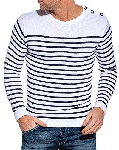 BLZ Jeans - Pull marinière Blanc à Rayures - Couleur: Blanc - Taille: XL/XXL