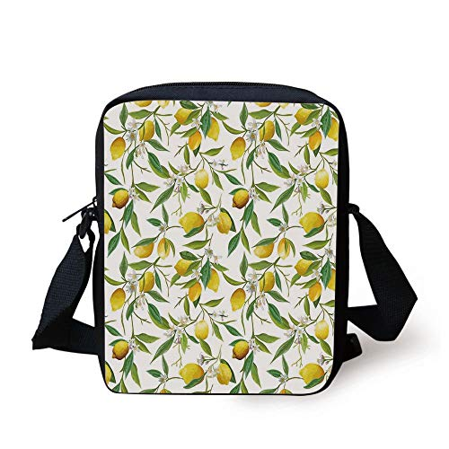 Nature,Flowering Lemon Woody Plant Romance Habitat Citrus Fresh Background,Fern Green Yellow White Print Kids Crossbody Messenger Bag Purse -