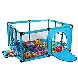 Laufgitter Kinder Sicherheitszaun Baby Laufstall Tragbarer Spielplatz Mit Mat & Balls, Pitching Design Spielplatz (Farbgröße Optional) (Farbe : Blau, größe : 120x100cm)