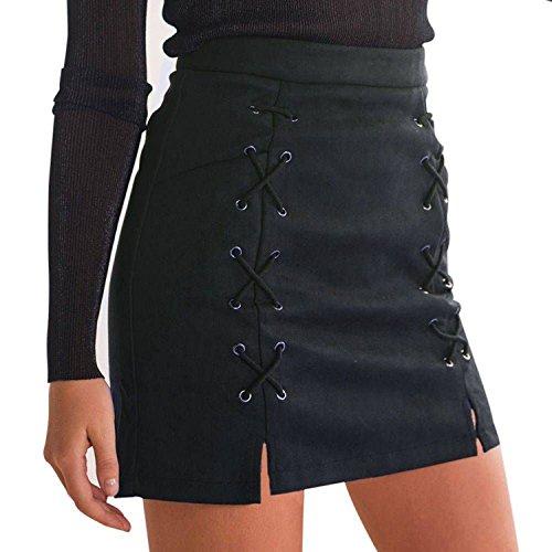 Minetom Mujer Chicas Ante Cintura Alta Delgado Bandas Minifalda Primavera  Verano Moda Corto Vestidos Una línea Falda Mini Skirt Negro EU L 2a9f796c98ae