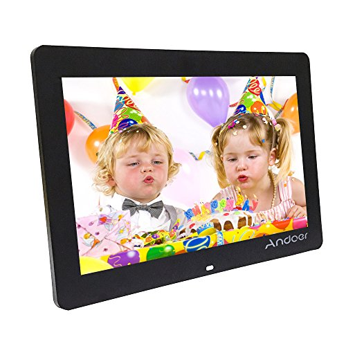 "Andoer 14"" Cadre Photo numérique, 1280 * 800 HD LED Cadre Photo électronique avec contrôle à Distance y Compris l'horloge LED MP4 Calendrier MP3 Movie Player(Noir)"