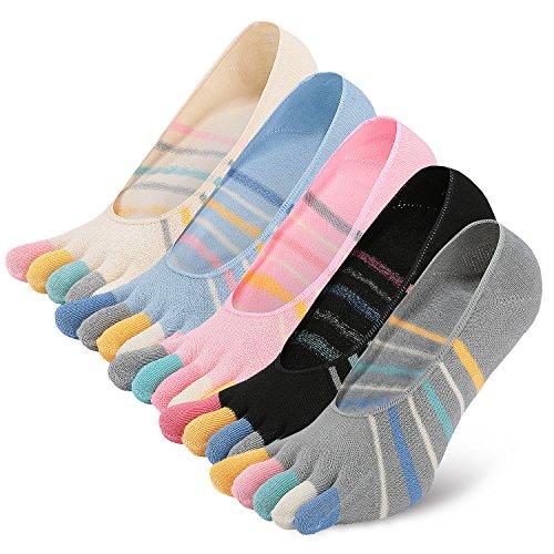 PUTUO Calcetines Cinco Dedos Mujer Calcetines Invisibles de Algodón, Calcetines 5 Dedos Mujer Calcetines Cortos Bajo con Silicona, 5 pares