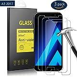 3-Unidades Protector de Pantalla para Samsung Galaxy A3 2017, 4.7 pulgadas, Alfort Cristal Templado Premium Grosor 0,3mm Alta Resistencia a Golpes 9H Tono Transparente Alta Definicion Compatibles con 3D Touch No Generan Burbujas